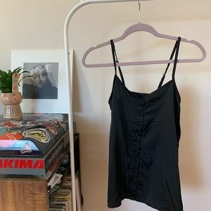 Vintage Black Silky Button Up Tank Top